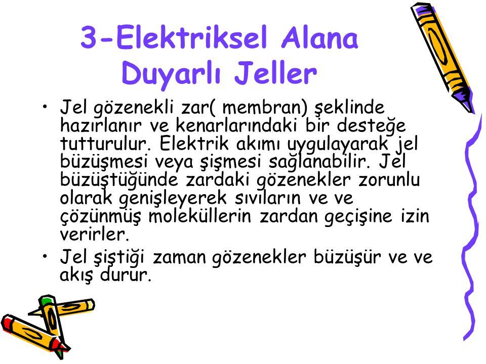 3-Elektriksel Alana Duyarlı Jeller Jel gözenekli zar( membran) şeklinde hazırlanır ve kenarlarındaki bir desteğe tutturulur.