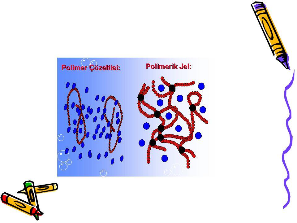 Dallanmanın olması polimerin çözünürlüğünü düşürür Çapraz bağlı yapılarsa çözünmeyip çözücüyü emerek şişerler.