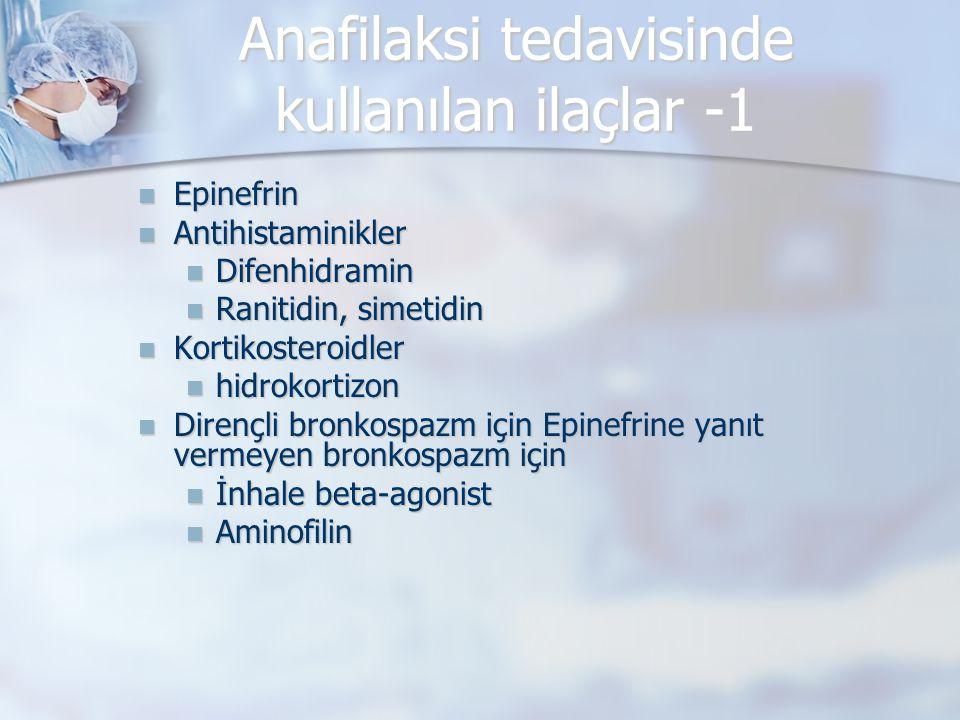 Anafilaksi tedavisinde kullanılan ilaçlar -1 Epinefrin Epinefrin Antihistaminikler Antihistaminikler Difenhidramin Difenhidramin Ranitidin, simetidin Ranitidin, simetidin Kortikosteroidler Kortikosteroidler hidrokortizon hidrokortizon Dirençli bronkospazm için Epinefrine yanıt vermeyen bronkospazm için Dirençli bronkospazm için Epinefrine yanıt vermeyen bronkospazm için İnhale beta-agonist İnhale beta-agonist Aminofilin Aminofilin