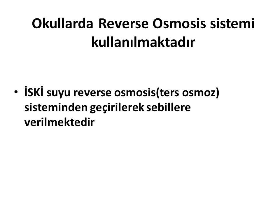Okullarda Reverse Osmosis sistemi kullanılmaktadır İSKİ suyu reverse osmosis(ters osmoz) sisteminden geçirilerek sebillere verilmektedir