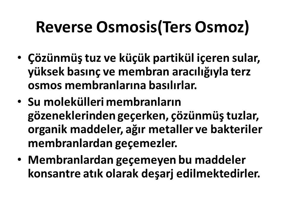 Reverse Osmosis(Ters Osmoz) Çözünmüş tuz ve küçük partikül içeren sular, yüksek basınç ve membran aracılığıyla terz osmos membranlarına basılırlar. Su