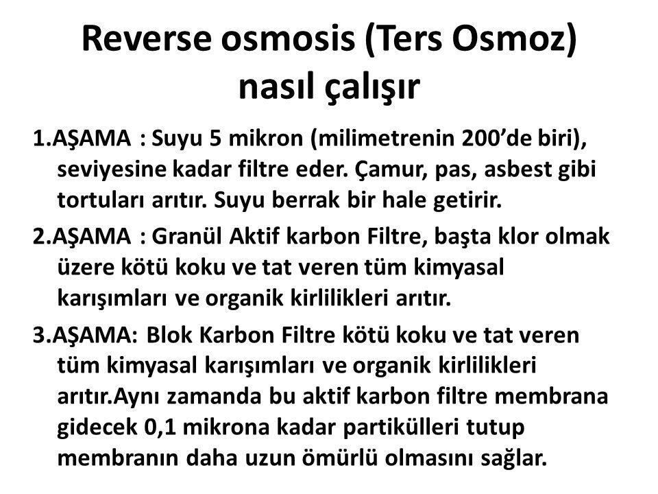 Reverse osmosis (Ters Osmoz) nasıl çalışır 1.AŞAMA : Suyu 5 mikron (milimetrenin 200'de biri), seviyesine kadar filtre eder. Çamur, pas, asbest gibi t