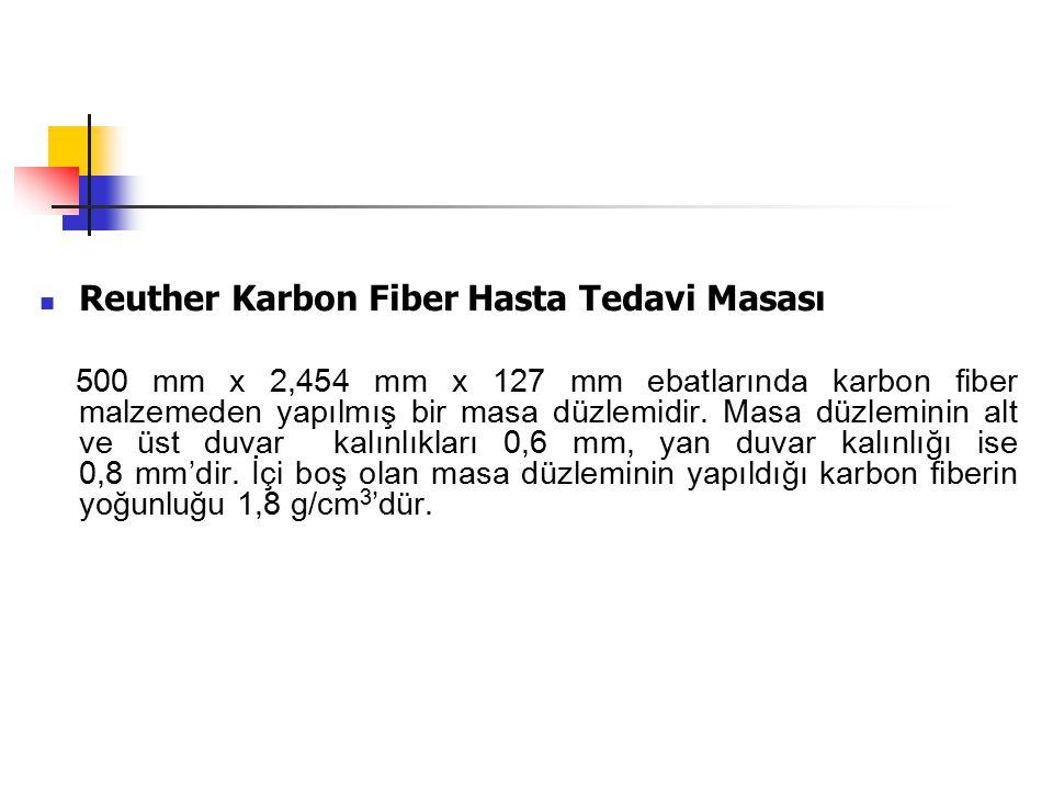 Reuther Karbon Fiber Hasta Tedavi Masası 500 mm x 2,454 mm x 127 mm ebatlarında karbon fiber malzemeden yapılmış bir masa düzlemidir. Masa düzleminin