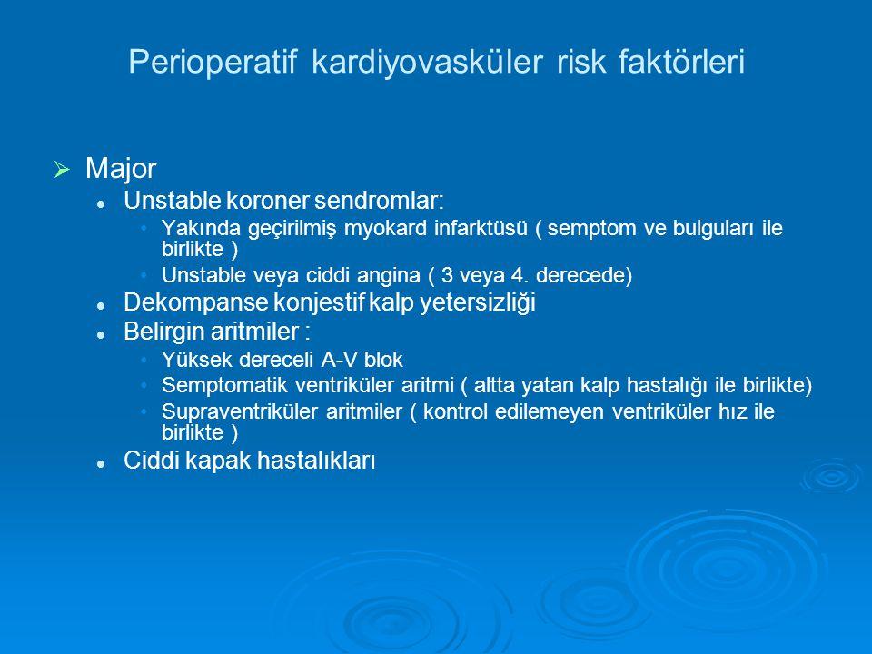 Perioperatif kardiyovasküler risk faktörleri   Major Unstable koroner sendromlar: Yakında geçirilmiş myokard infarktüsü ( semptom ve bulguları ile birlikte ) Unstable veya ciddi angina ( 3 veya 4.