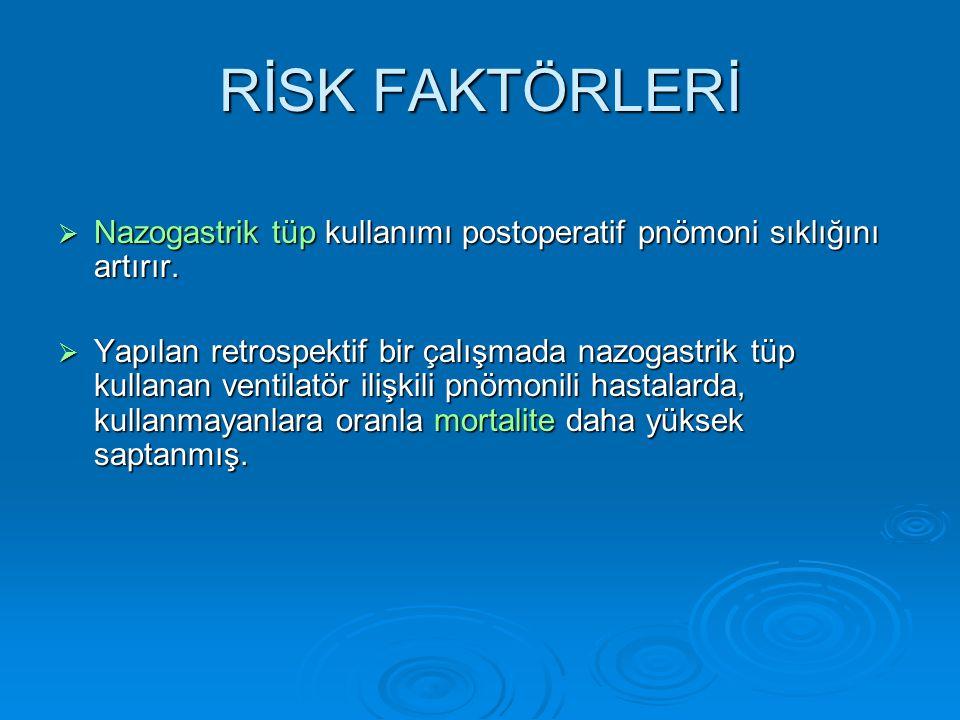 RİSK FAKTÖRLERİ  Nazogastrik tüp kullanımı postoperatif pnömoni sıklığını artırır.