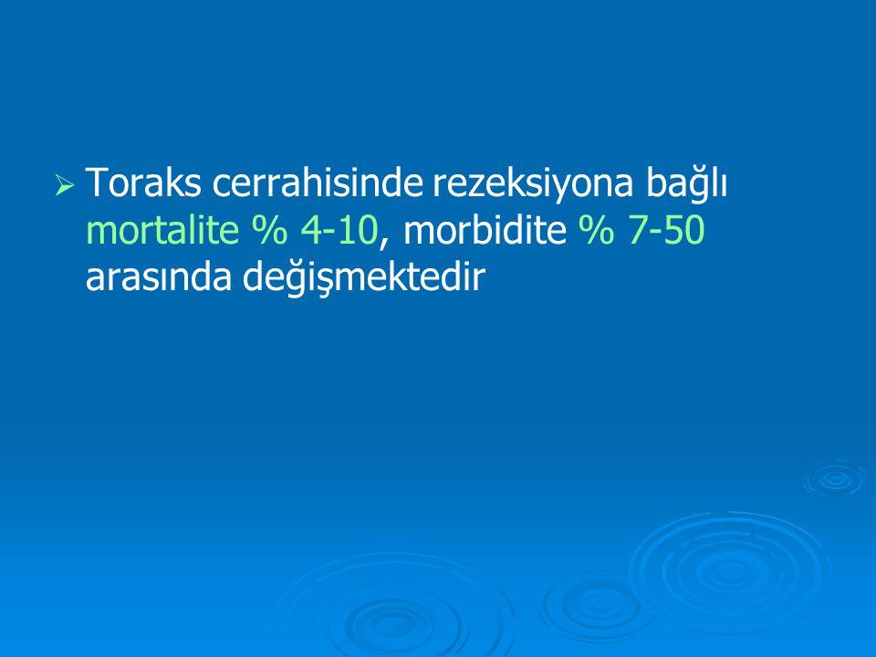   Toraks cerrahisinde rezeksiyona bağlı mortalite % 4-10, morbidite % 7-50 arasında değişmektedir