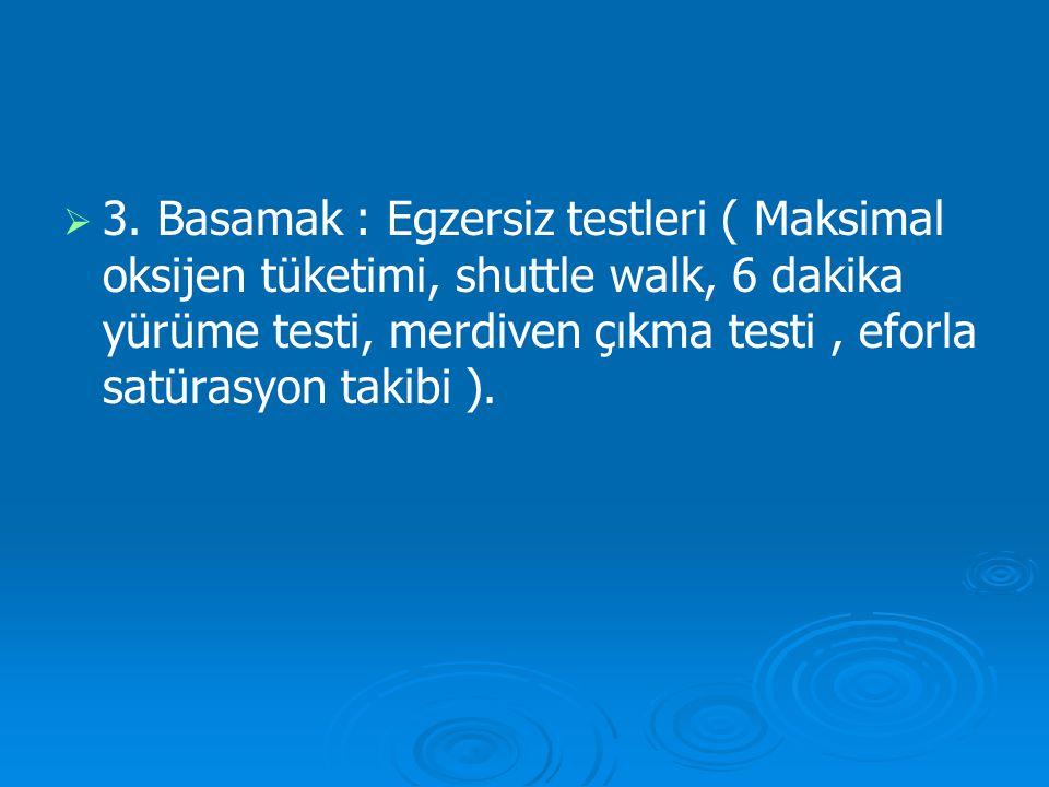   3. Basamak : Egzersiz testleri ( Maksimal oksijen tüketimi, shuttle walk, 6 dakika yürüme testi, merdiven çıkma testi, eforla satürasyon takibi ).