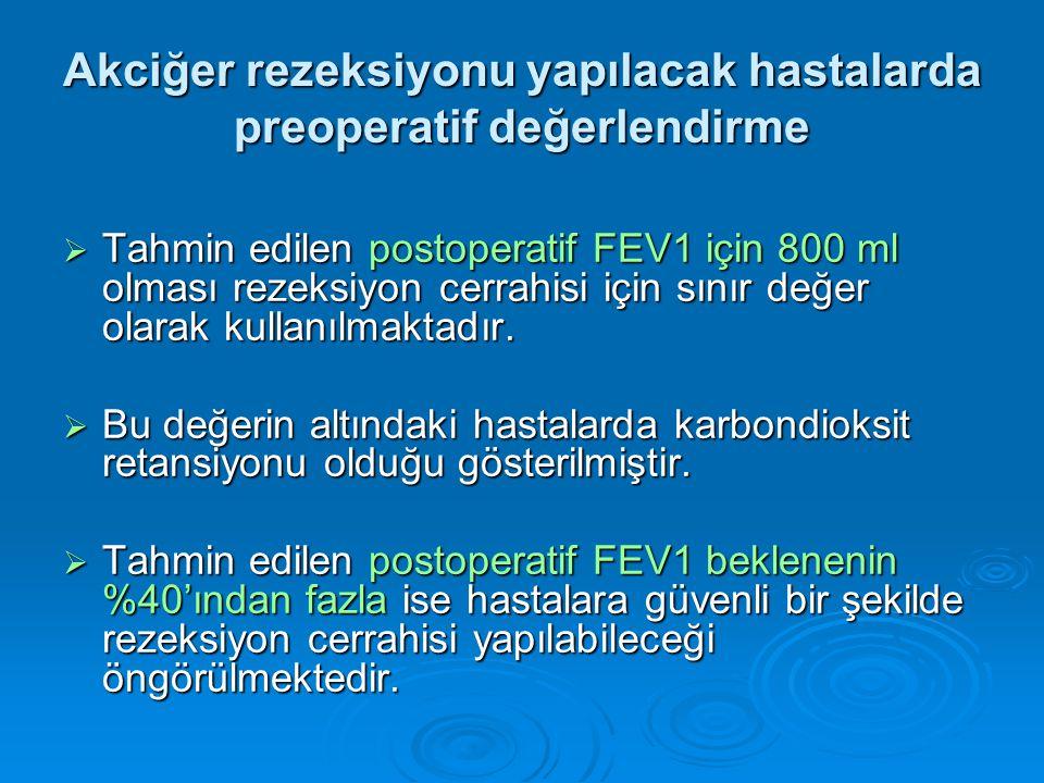  Tahmin edilen postoperatif FEV1 için 800 ml olması rezeksiyon cerrahisi için sınır değer olarak kullanılmaktadır.
