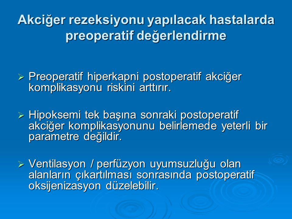  Preoperatif hiperkapni postoperatif akciğer komplikasyonu riskini arttırır.