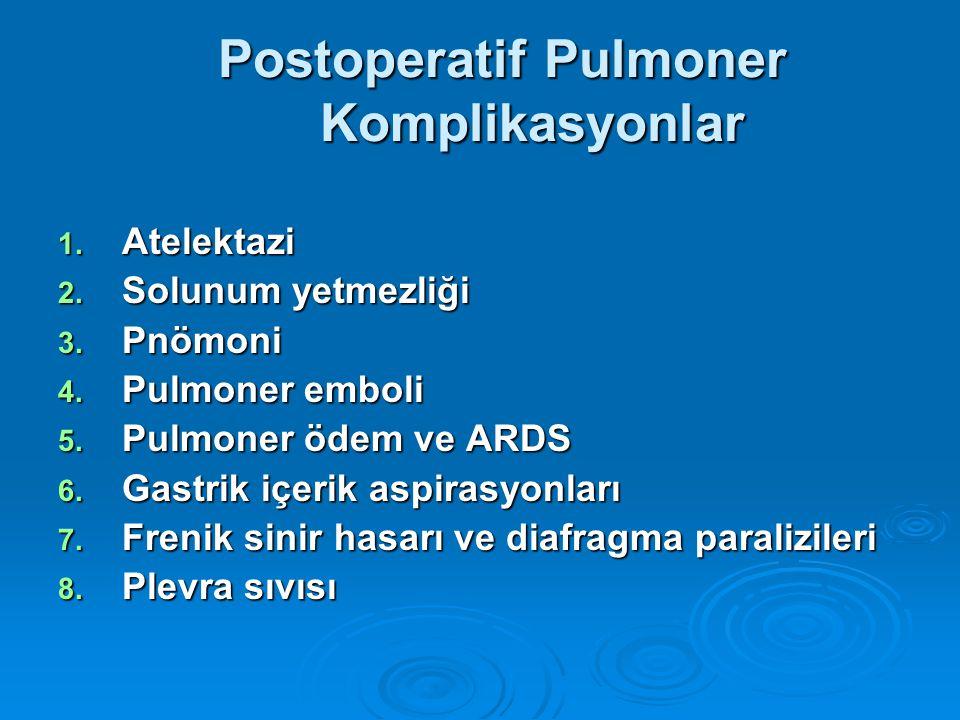 Postoperatif Pulmoner Komplikasyonlar Postoperatif Pulmoner Komplikasyonlar 1.