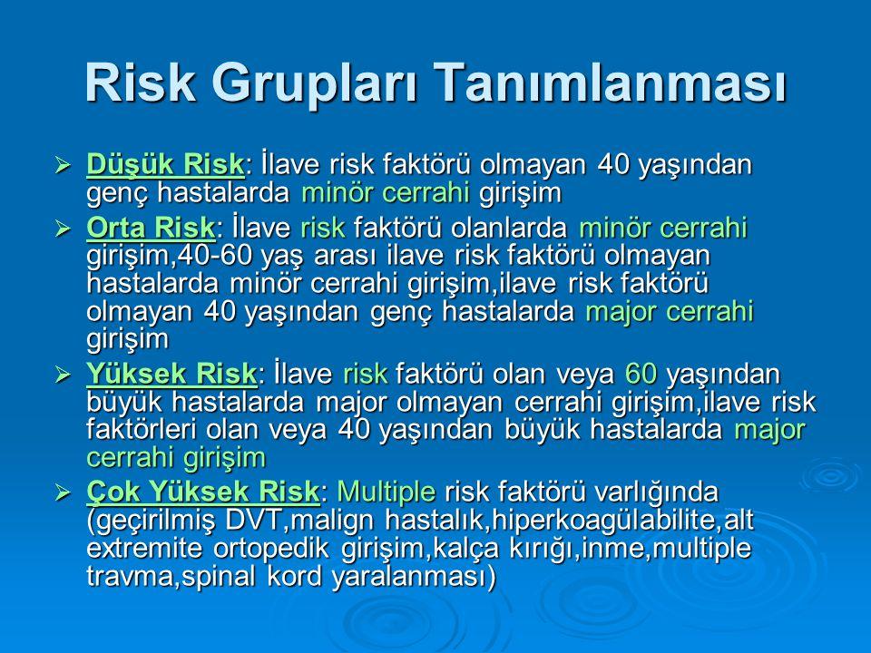 Risk Grupları Tanımlanması  Düşük Risk: İlave risk faktörü olmayan 40 yaşından genç hastalarda minör cerrahi girişim  Orta Risk: İlave risk faktörü olanlarda minör cerrahi girişim,40-60 yaş arası ilave risk faktörü olmayan hastalarda minör cerrahi girişim,ilave risk faktörü olmayan 40 yaşından genç hastalarda major cerrahi girişim  Yüksek Risk: İlave risk faktörü olan veya 60 yaşından büyük hastalarda major olmayan cerrahi girişim,ilave risk faktörleri olan veya 40 yaşından büyük hastalarda major cerrahi girişim  Çok Yüksek Risk: Multiple risk faktörü varlığında (geçirilmiş DVT,malign hastalık,hiperkoagülabilite,alt extremite ortopedik girişim,kalça kırığı,inme,multiple travma,spinal kord yaralanması)
