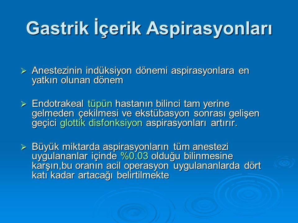 Gastrik İçerik Aspirasyonları  Anestezinin indüksiyon dönemi aspirasyonlara en yatkın olunan dönem  Endotrakeal tüpün hastanın bilinci tam yerine gelmeden çekilmesi ve ekstübasyon sonrası gelişen geçici glottik disfonksiyon aspirasyonları artırır.