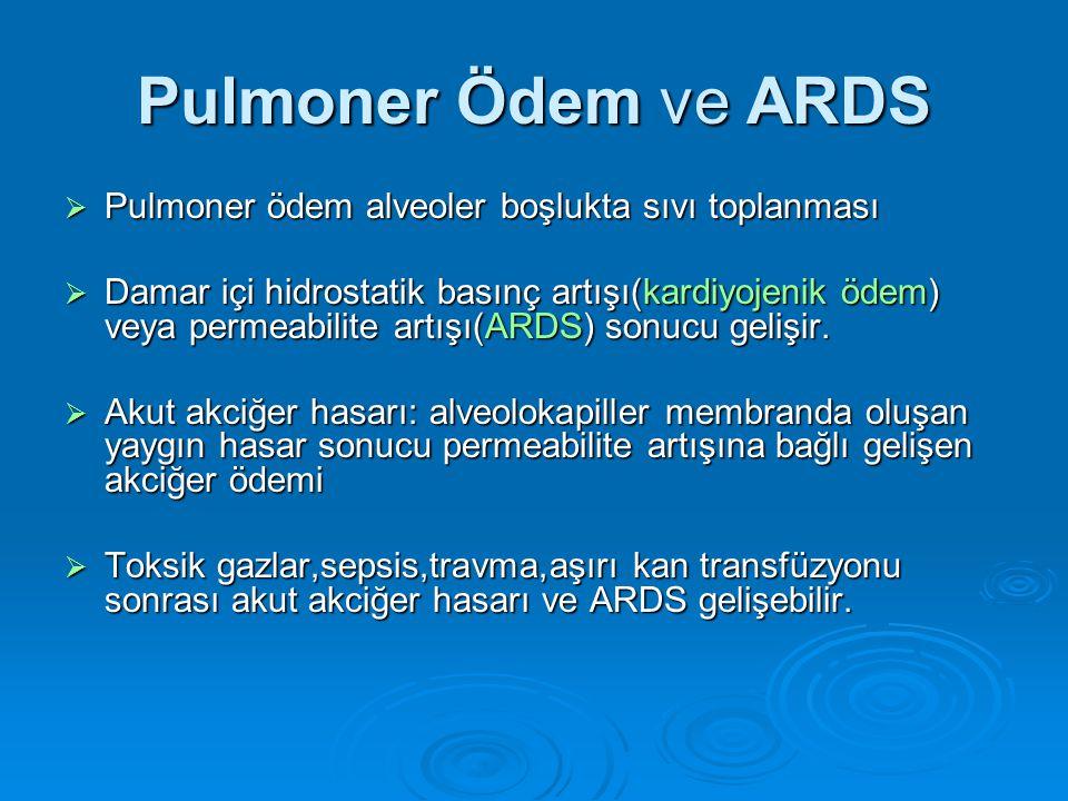 Pulmoner Ödem ve ARDS  Pulmoner ödem alveoler boşlukta sıvı toplanması  Damar içi hidrostatik basınç artışı(kardiyojenik ödem) veya permeabilite artışı(ARDS) sonucu gelişir.