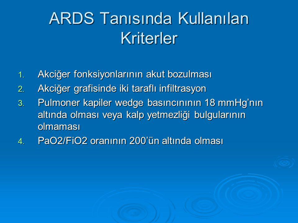 ARDS Tanısında Kullanılan Kriterler 1.Akciğer fonksiyonlarının akut bozulması 2.