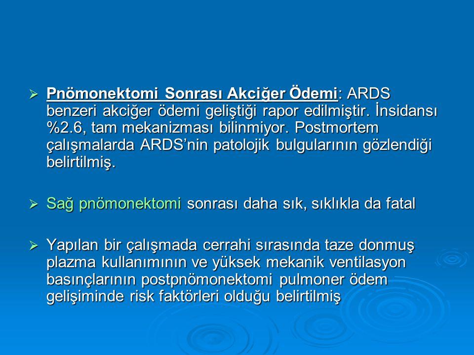  Pnömonektomi Sonrası Akciğer Ödemi: ARDS benzeri akciğer ödemi geliştiği rapor edilmiştir.