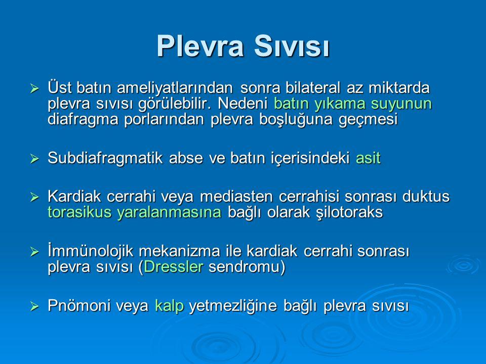 Plevra Sıvısı  Üst batın ameliyatlarından sonra bilateral az miktarda plevra sıvısı görülebilir.