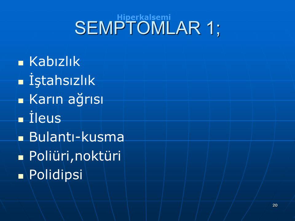 20 SEMPTOMLAR 1; Kabızlık İştahsızlık Karın ağrısı İleus Bulantı-kusma Poliüri,noktüri Polidipsi Hiperkalsemi