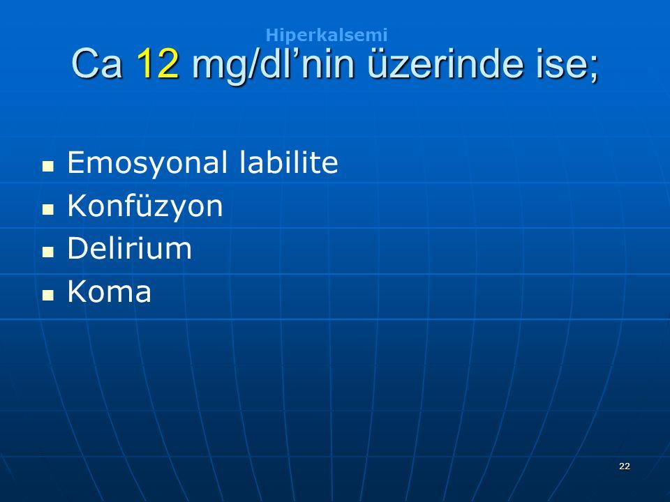 22 Ca 12 mg/dl'nin üzerinde ise; Emosyonal labilite Konfüzyon Delirium Koma Hiperkalsemi