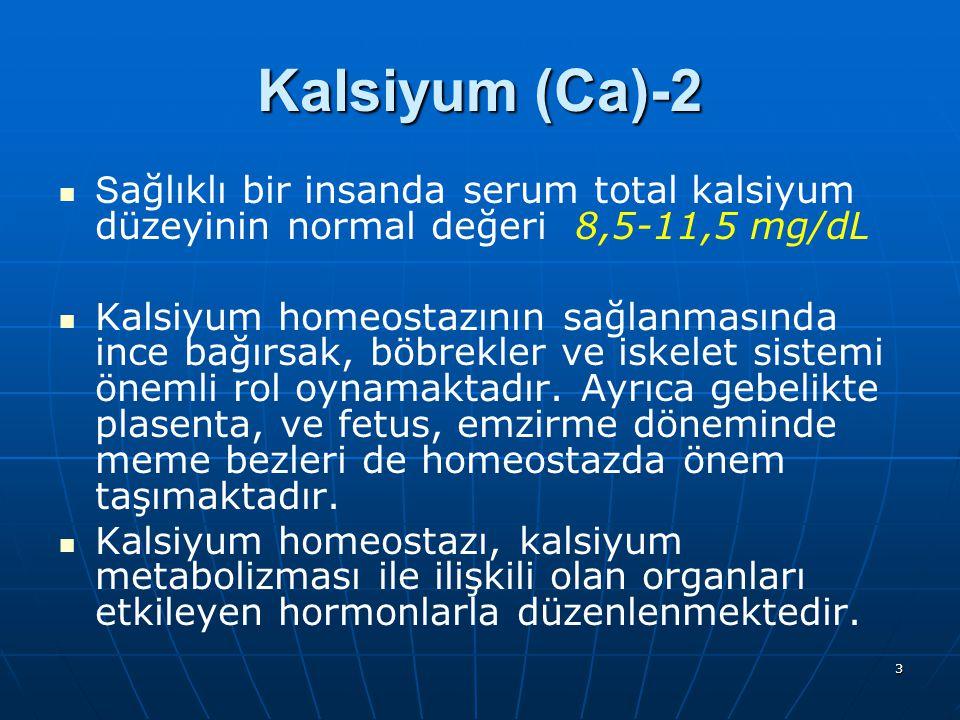 3 S ağlıklı bir insanda serum total kalsiyum düzeyinin normal değeri 8,5-11,5 mg/dL Kalsiyum homeostazının sağlanmasında ince bağırsak, böbrekler ve i