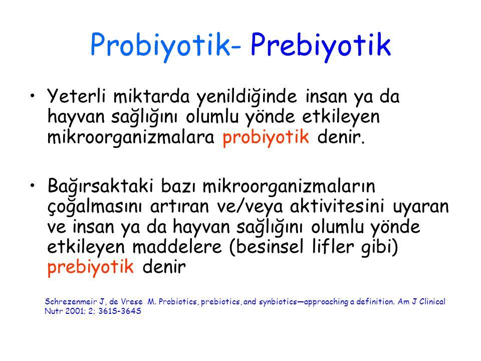 Probiyotik- Prebiyotik Yeterli miktarda yenildiğinde insan ya da hayvan sağlığını olumlu yönde etkileyen mikroorganizmalara probiyotik denir. Bağırsak