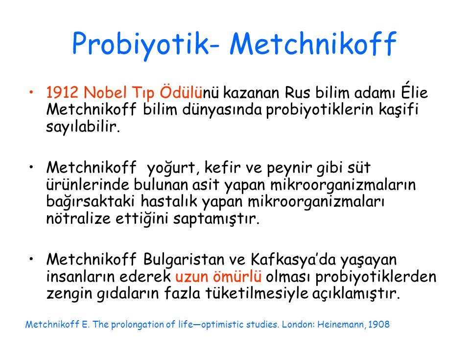 Probiyotik- Metchnikoff 1912 Nobel Tıp Ödülünü kazanan Rus bilim adamı Élie Metchnikoff bilim dünyasında probiyotiklerin kaşifi sayılabilir. Metchniko