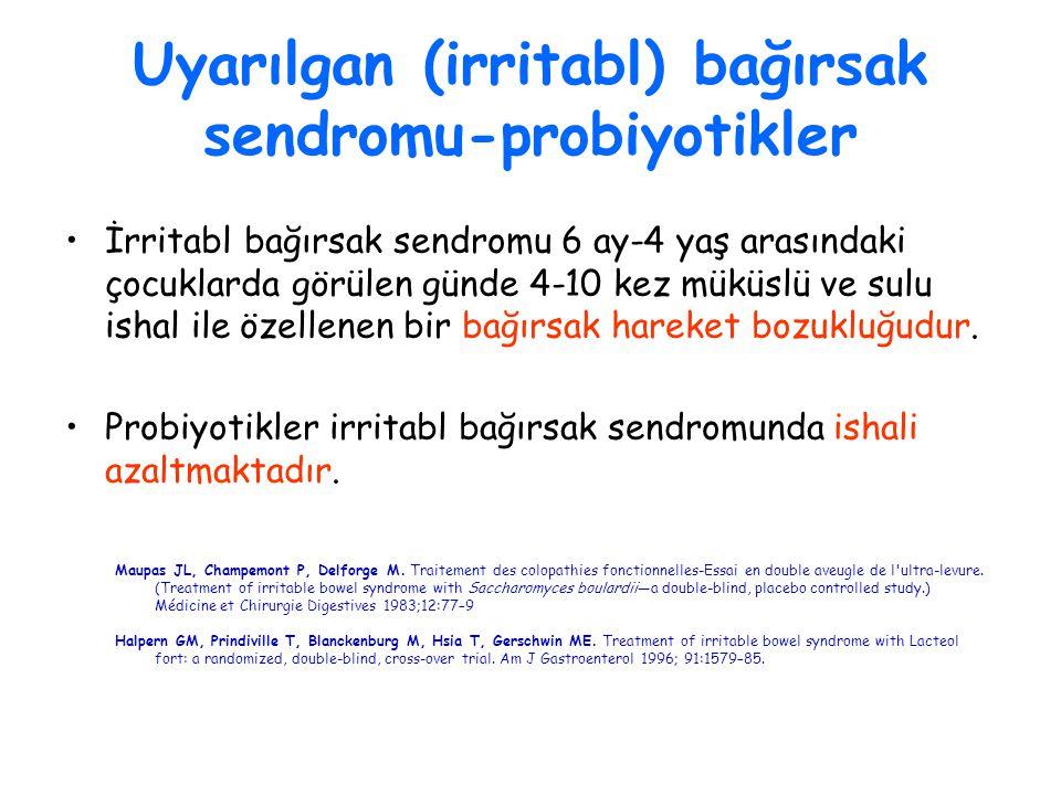 Uyarılgan (irritabl) bağırsak sendromu-probiyotikler İrritabl bağırsak sendromu 6 ay-4 yaş arasındaki çocuklarda görülen günde 4-10 kez müküslü ve sul