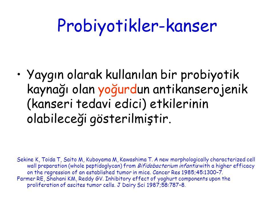 Probiyotikler-kanser Yaygın olarak kullanılan bir probiyotik kaynağı olan yoğurdun antikanserojenik (kanseri tedavi edici) etkilerinin olabileceği gös