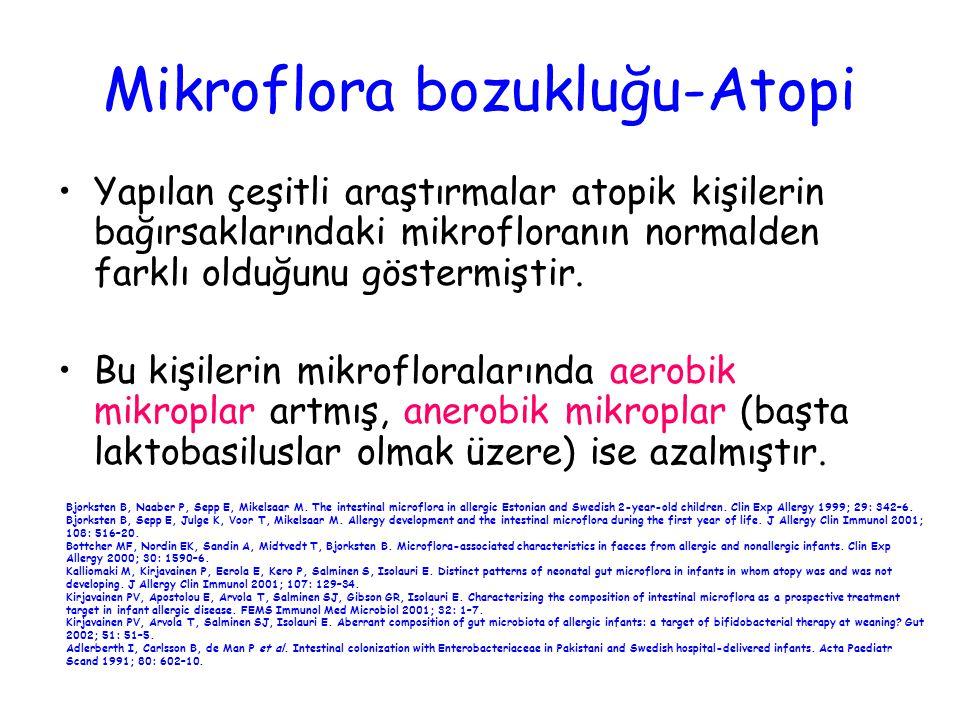 Mikroflora bozukluğu-Atopi Yapılan çeşitli araştırmalar atopik kişilerin bağırsaklarındaki mikrofloranın normalden farklı olduğunu göstermiştir. Bu ki