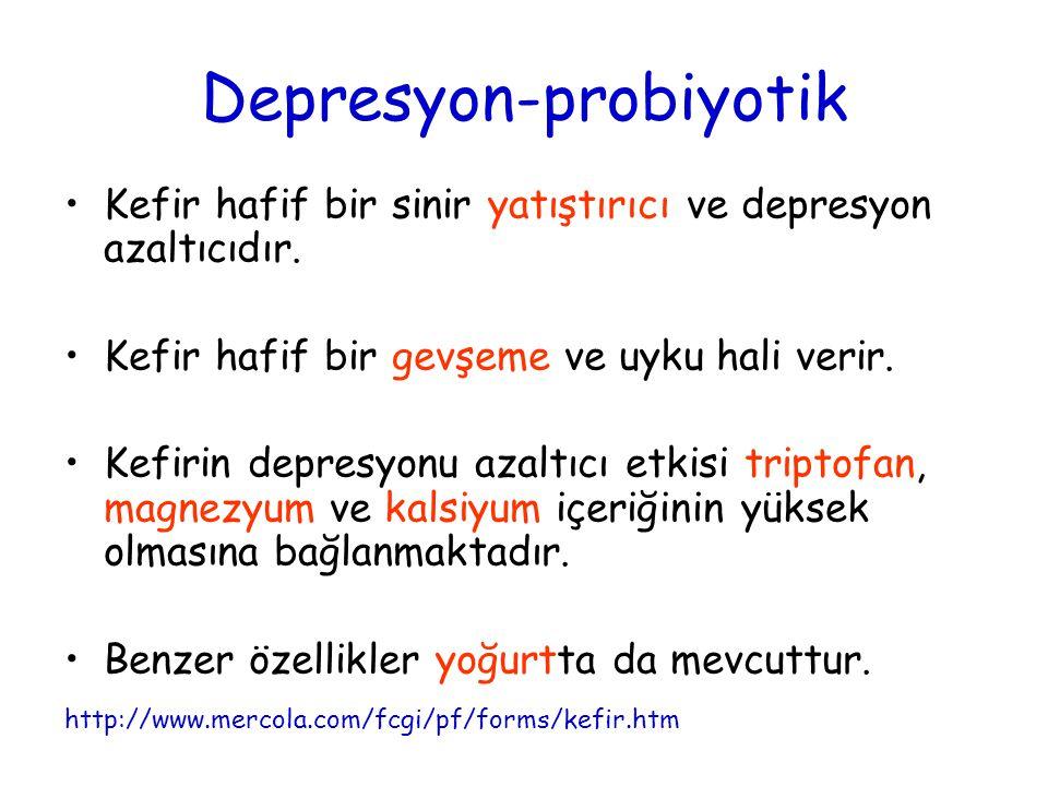 Depresyon-probiyotik Kefir hafif bir sinir yatıştırıcı ve depresyon azaltıcıdır. Kefir hafif bir gevşeme ve uyku hali verir. Kefirin depresyonu azaltı