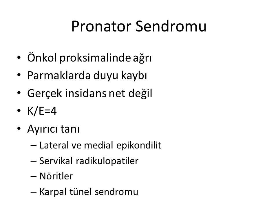 Pronator Sendromu Önkol proksimalinde ağrı Parmaklarda duyu kaybı Gerçek insidans net değil K/E=4 Ayırıcı tanı – Lateral ve medial epikondilit – Servikal radikulopatiler – Nöritler – Karpal tünel sendromu