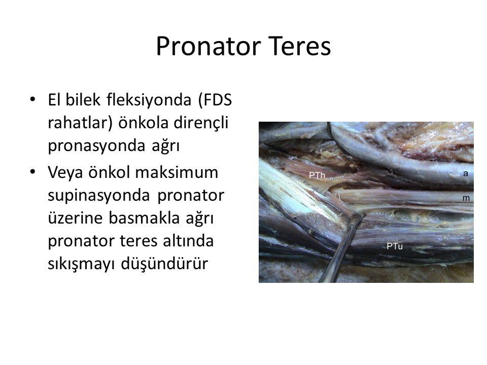 Pronator Teres El bilek fleksiyonda (FDS rahatlar) önkola dirençli pronasyonda ağrı Veya önkol maksimum supinasyonda pronator üzerine basmakla ağrı pronator teres altında sıkışmayı düşündürür