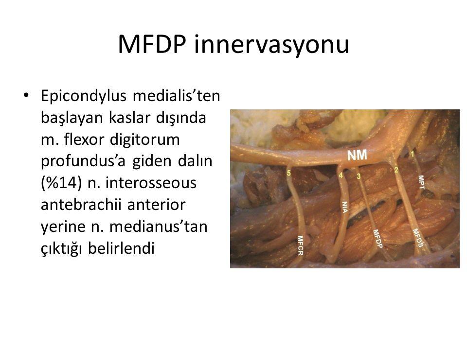 MFDP innervasyonu Epicondylus medialis'ten başlayan kaslar dışında m. flexor digitorum profundus'a giden dalın (%14) n. interosseous antebrachii anter