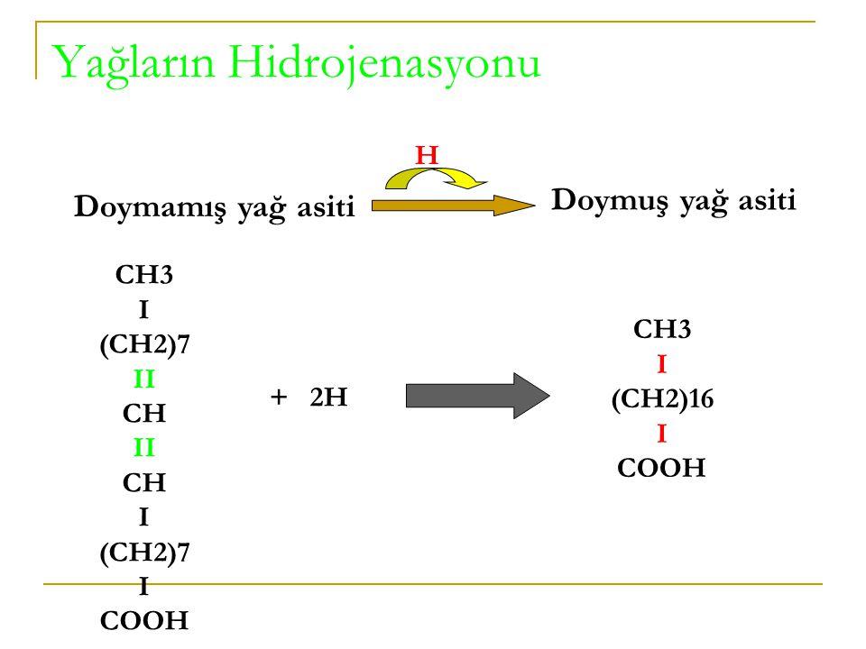 ÇİFTE BAĞA AİT ÖZELLİKLER Hidrojenizasyon (Hidrojenlenme): Doymamış yağ asitlerinin yapısında yer alan etilen bağı (- CH=CH-), kolaylıkla H ile doyurulabilir: Doymamış yağ asidiDoymuş yağ asidi Örneğin: CH 3 (CH 2 ) 7.CH=CH(CH 2 ) 7 COOH CH 3.(CH 2 ) 16.COOH Oleik asit Stearik asit