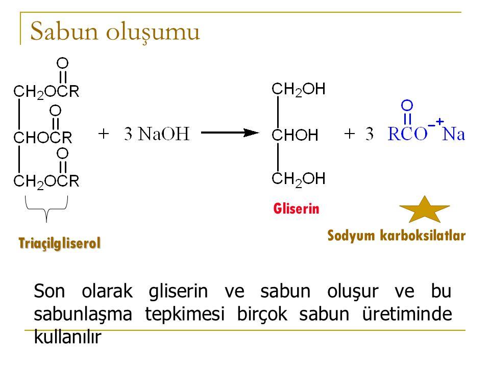 SABUN OLUŞUMU SABUN 6 C'ludan yüksek yağ asitlerinin metallerle yaptığı tuzlara SABUN denir.