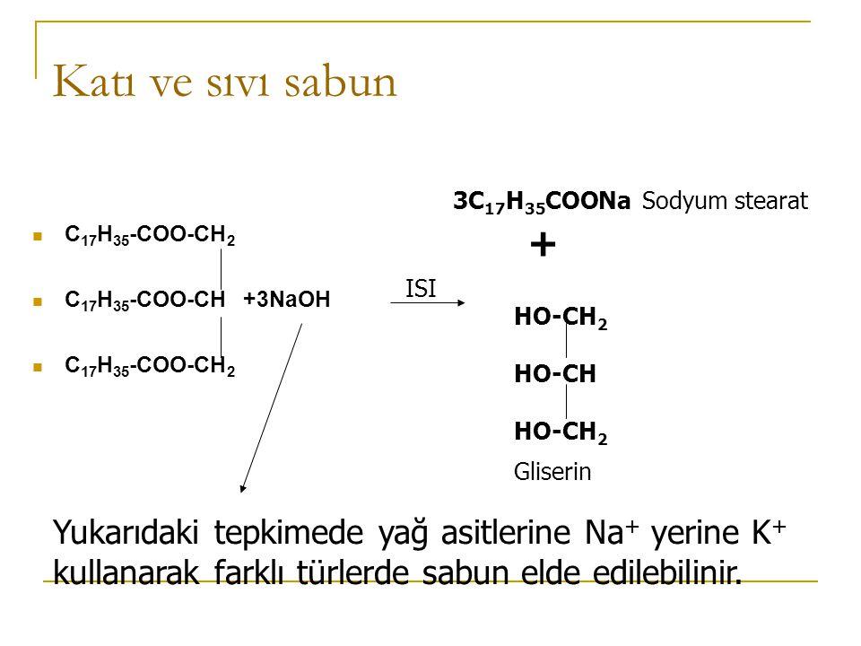 Sabun oluşumu Son olarak gliserin ve sabun oluşur ve bu sabunlaşma tepkimesi birçok sabun üretiminde kullanılır Gliserin Sodyum karboksilatlar Triaçilgliserol