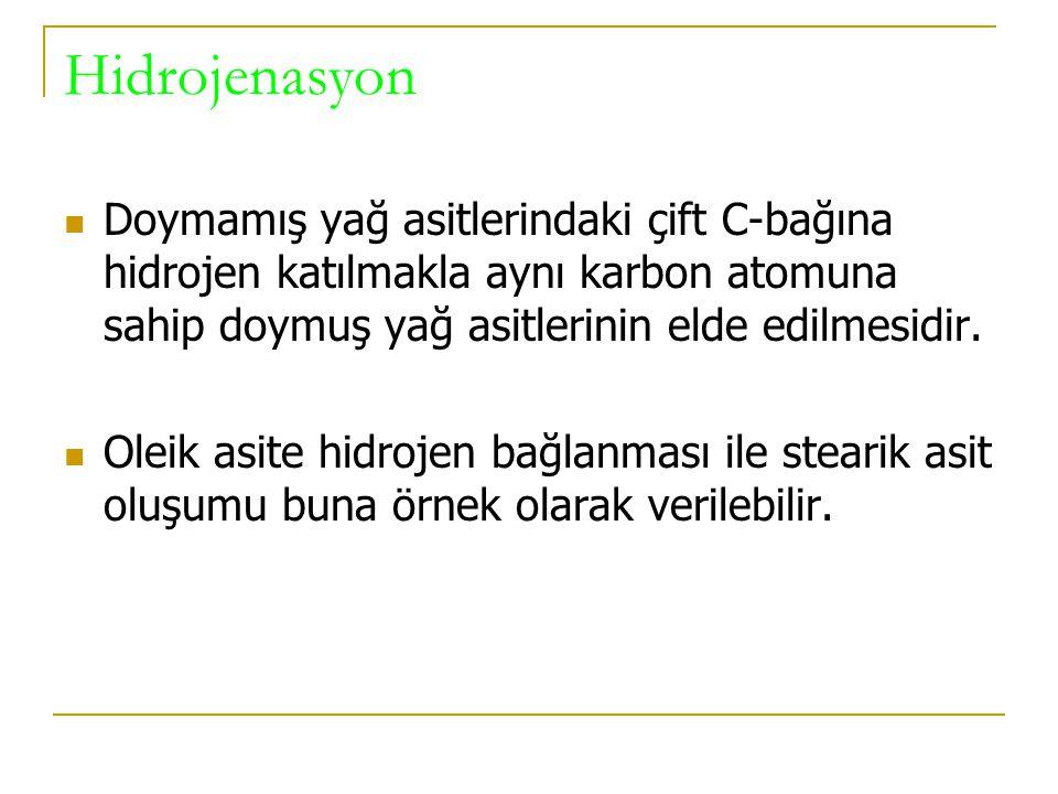 YAĞLARIN NİTELİKLERİNİ BELİRLEYEN FAKTÖRLER Erime noktası İyot sayısı Hidroliz Oksidasyon Hidrojenasyon 1-Sabunlaşma sayısı 2-Re-esterifikasyon 3-İnra-esterifikasyon 3-Oksidasyon 4-De-hidrasyon