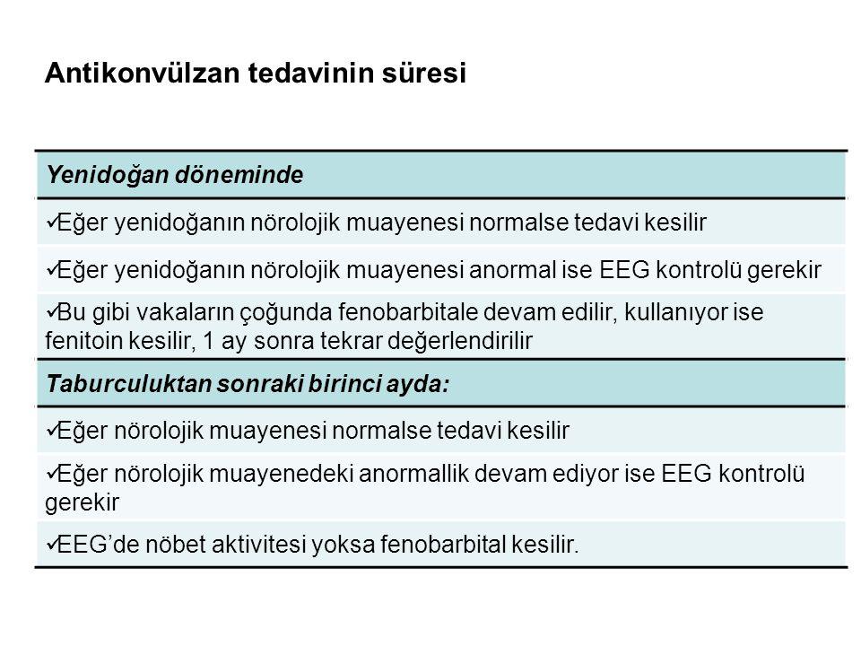 Yenidoğan döneminde Eğer yenidoğanın nörolojik muayenesi normalse tedavi kesilir Eğer yenidoğanın nörolojik muayenesi anormal ise EEG kontrolü gerekir