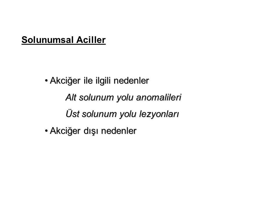 Solunumsal Aciller Akciğer ile ilgili nedenler Akciğer ile ilgili nedenler Alt solunum yolu anomalileri Alt solunum yolu anomalileri Üst solunum yolu