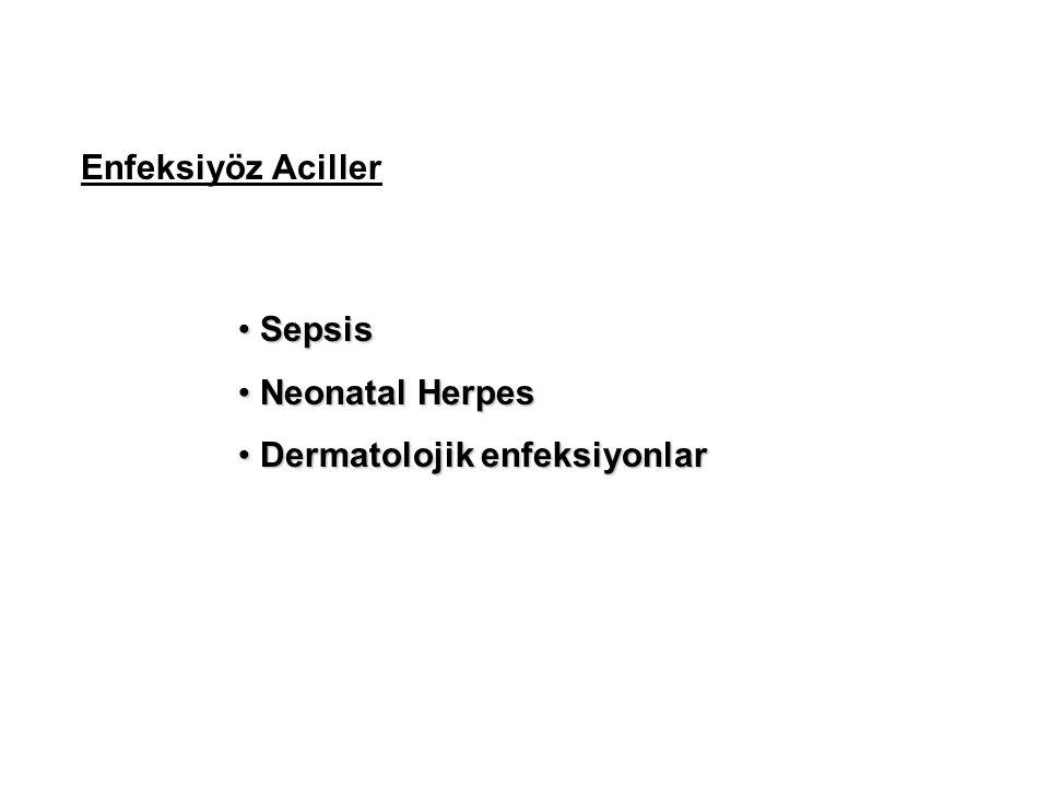 Enfeksiyöz Aciller Sepsis Sepsis Neonatal Herpes Neonatal Herpes Dermatolojik enfeksiyonlar Dermatolojik enfeksiyonlar