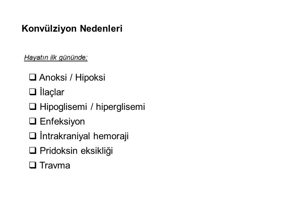 Konvülziyon Nedenleri  Anoksi / Hipoksi  İlaçlar  Hipoglisemi / hiperglisemi  Enfeksiyon  İntrakraniyal hemoraji  Pridoksin eksikliği  Travma H
