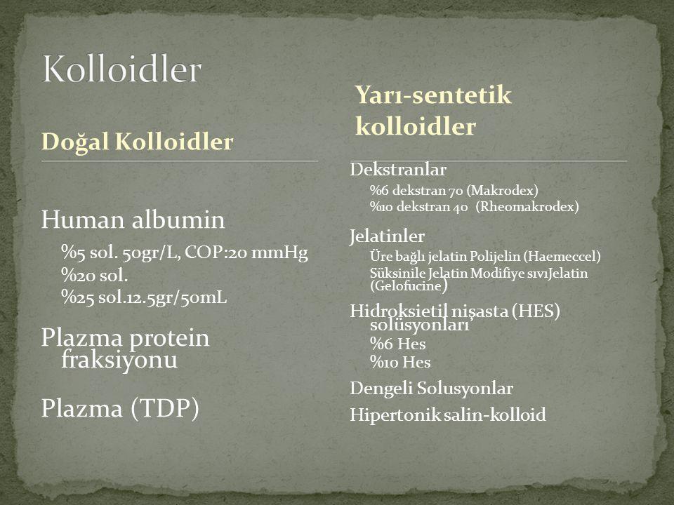 Doğal Kolloidler Human albumin %5 sol. 50gr/L, COP:20 mmHg %20 sol. %25 sol.12.5gr/50mL Plazma protein fraksiyonu Plazma (TDP) Dekstranlar %6 dekstran