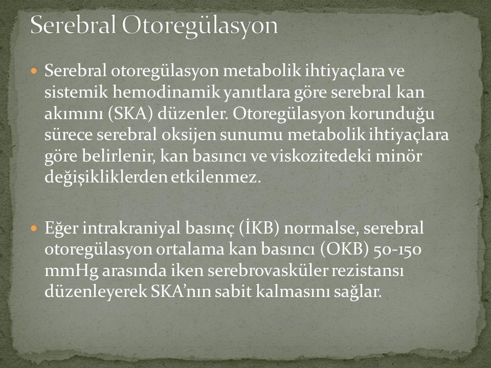Serebral otoregülasyon metabolik ihtiyaçlara ve sistemik hemodinamik yanıtlara göre serebral kan akımını (SKA) düzenler.