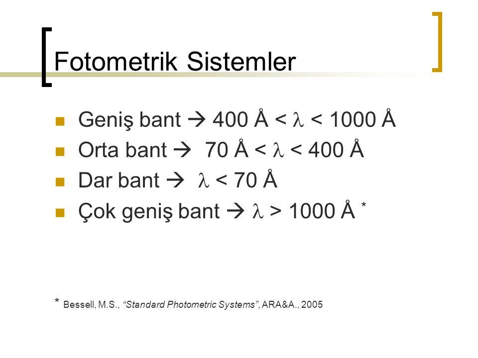 """Fotometrik Sistemler Geniş bant  400 Å < < 1000 Å Orta bant  70 Å < < 400 Å Dar bant  < 70 Å Çok geniş bant  > 1000 Å * * Bessell, M.S., """"Standard"""