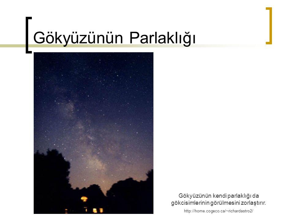 Gökyüzünün Parlaklığı Gökyüzünün kendi parlaklığı da gökcisimlerinin görülmesini zorlaştırır. http://home.cogeco.ca/~richardastro2/