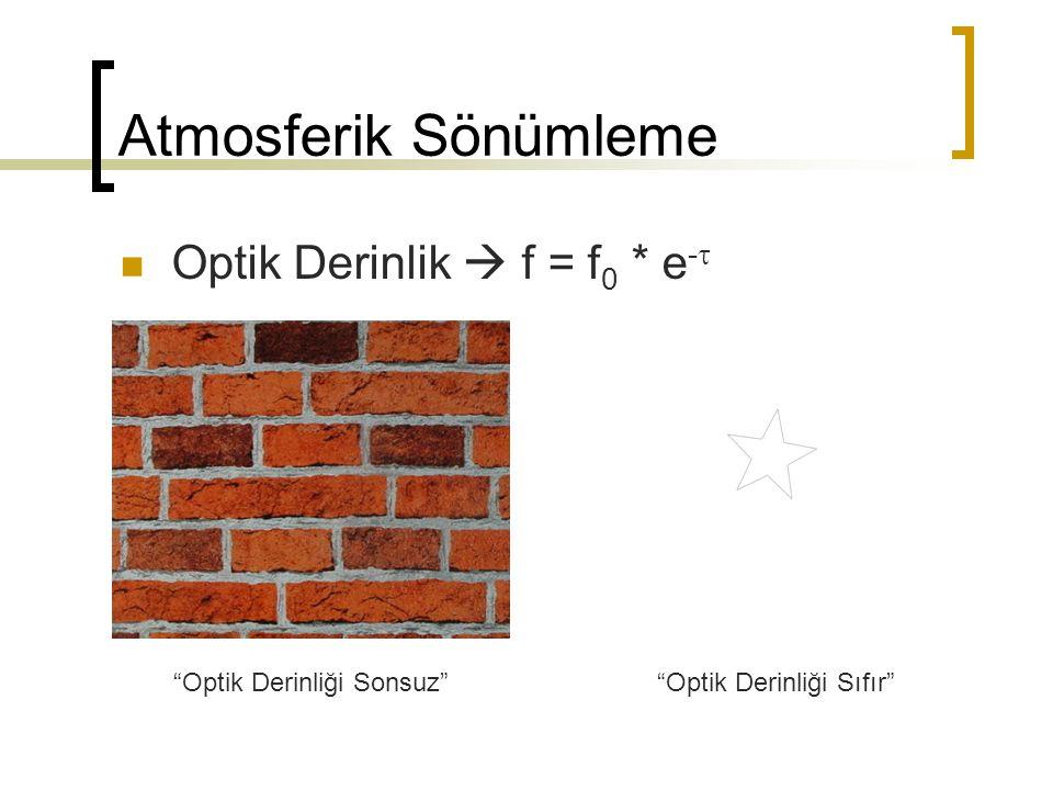 """Atmosferik Sönümleme Optik Derinlik  f = f 0 * e -  """"Optik Derinliği Sonsuz""""""""Optik Derinliği Sıfır"""""""