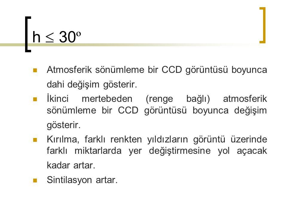 h  30 º Atmosferik sönümleme bir CCD görüntüsü boyunca dahi değişim gösterir. İkinci mertebeden (renge bağlı) atmosferik sönümleme bir CCD görüntüsü