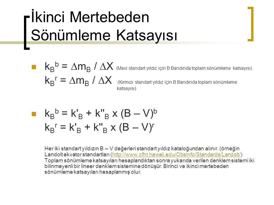 İkinci Mertebeden Sönümleme Katsayısı k B b =  m B /  X (Mavi standart yıldız için B Bandında toplam sönümleme katsayısı) k B r =  m B /  X (Kırmı