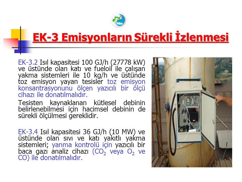 EK-3 Emisyonların Sürekli İzlenmesi EK-3.2 Isıl kapasitesi 100 GJ/h (27778 kW) ve üstünde olan katı ve fueloil ile çalışan yakma sistemleri ile 10 kg/h ve üstünde toz emisyon yayan tesisler toz emisyon konsantrasyonunu ölçen yazıcılı bir ölçü cihazı ile donatılmalıdır.