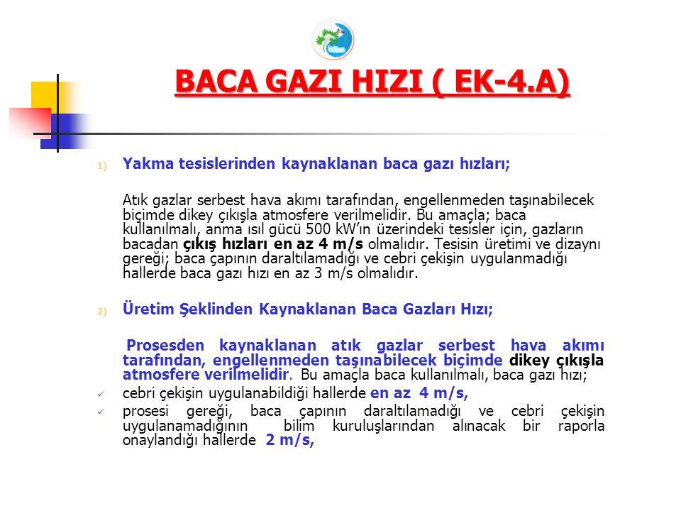 BACA GAZI HIZI ( EK-4.A) 1) Yakma tesislerinden kaynaklanan baca gazı hızları; Atık gazlar serbest hava akımı tarafından, engellenmeden taşınabilecek biçimde dikey çıkışla atmosfere verilmelidir.