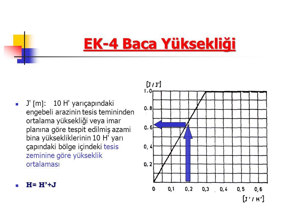 EK-4 Baca Yüksekliği J  m  : 10 H yarıçapındaki engebeli arazinin tesis temininden ortalama yüksekliği veya imar planına göre tespit edilmiş azami bina yüksekliklerinin 10 H yarı çapındaki bölge içindeki tesis zeminine göre yükseklik ortalaması H= H'+J H= H'+J